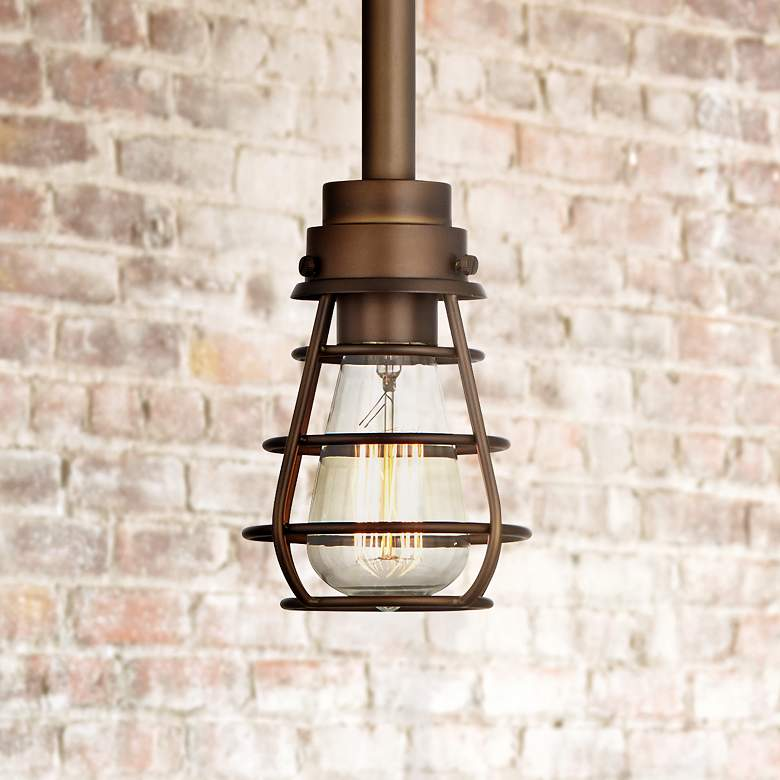 "Bendlin Industrial 5"" Wide Oil-Rubbed Bronze Mini Pendant"