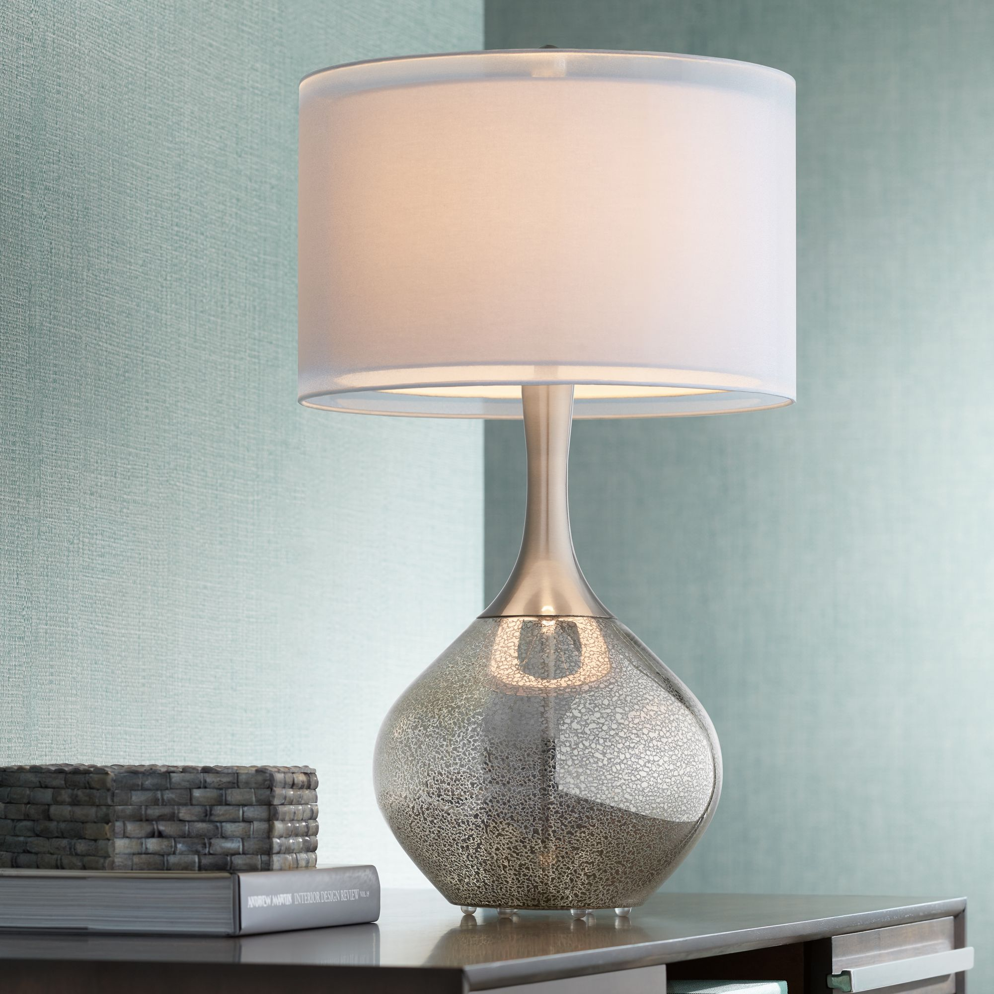 Delightful Possini Euro Design Swift Modern Mercury Glass Table Lamp