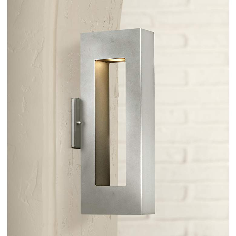 "Atlantis 16""H Titanium-Etched Glass LED Outdoor Wall Light"