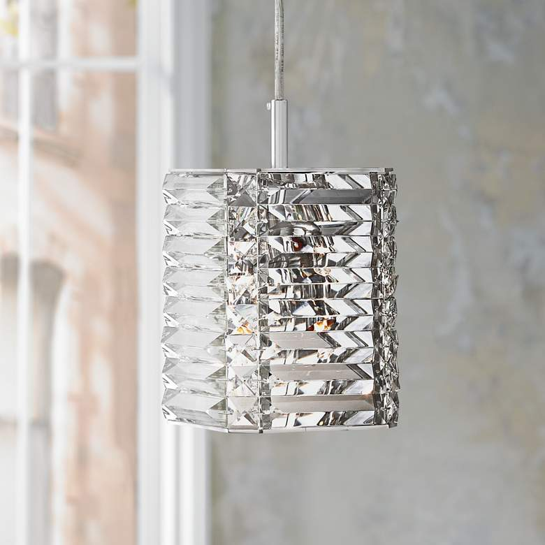 "Possini Euro Lenke Chrome 6"" Wide Crystal Mini Pendant"