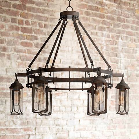 "Anselda 36"" Wide 6-Light Bronze LED Chandelier"