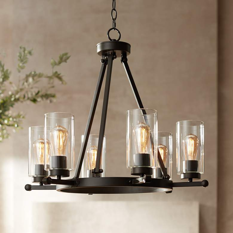"Holman 26 3/4"" Wide Industrial Bronze 6-Light Chandelier"