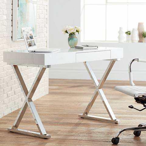 Luster Glossy White Wood and Chrome Office Desk