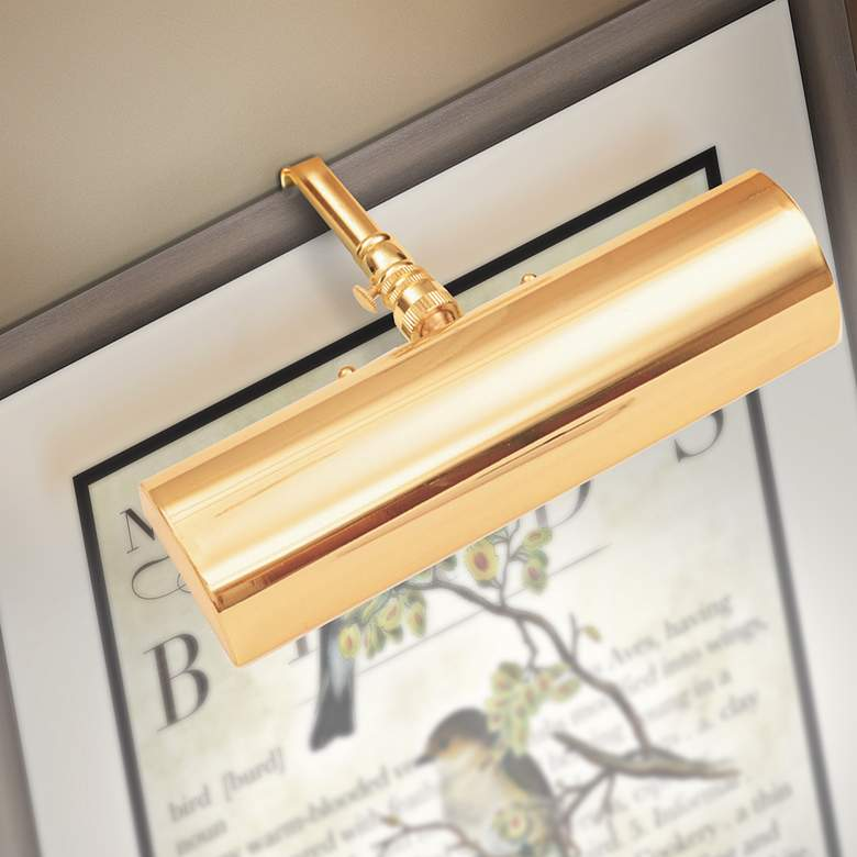 "Slimline 8"" Wide Polished Brass Cordless LED Picture Light"