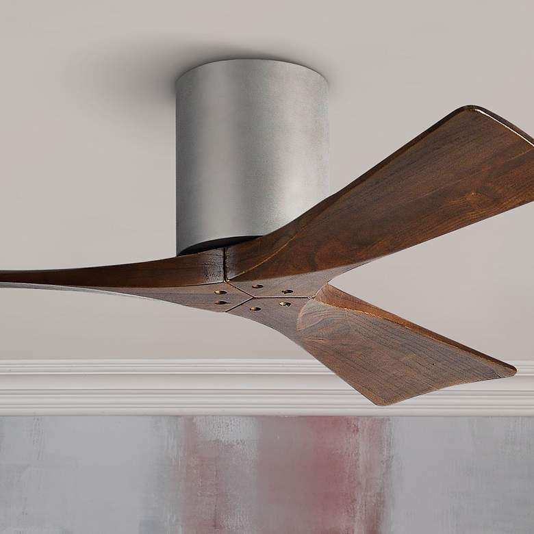 "42"" Matthews Irene-3H Blade Walnut-Nickel Hugger Ceiling Fan"