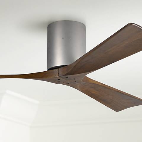 "52"" Matthews Irene 3-Blade Walnut-Nickel Hugger Ceiling Fan"