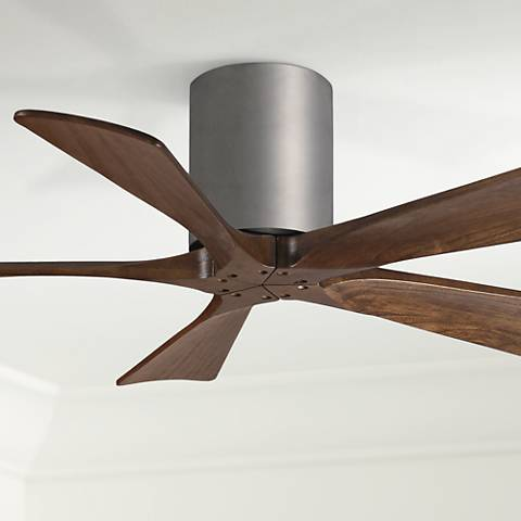 "42"" Matthews Irene 5-Blade Walnut-Nickel Hugger Ceiling Fan"