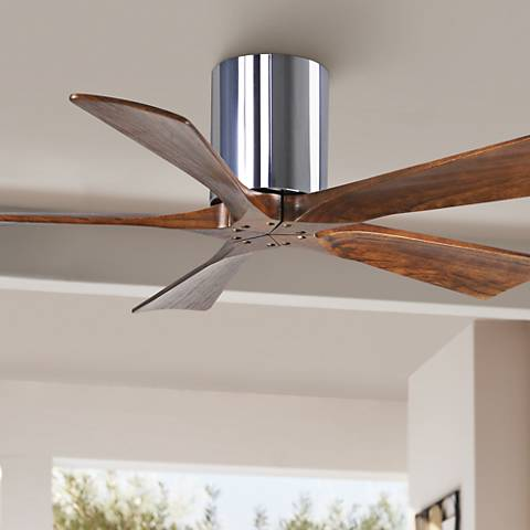 "42"" Matthews Irene 5-Blade Walnut-Chrome Hugger Ceiling Fan"