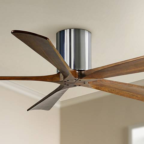 "52"" Matthews Irene 5-Blade Walnut-Chrome Hugger Ceiling Fan"