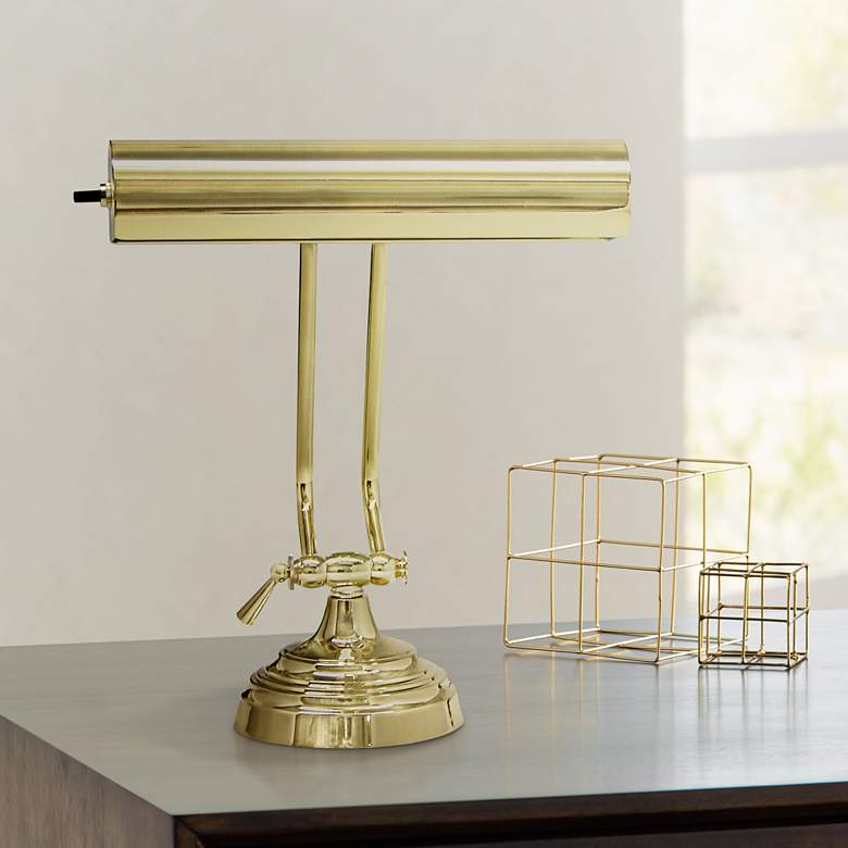 House of Troy Adjustable Polished Brass Piano Desk
