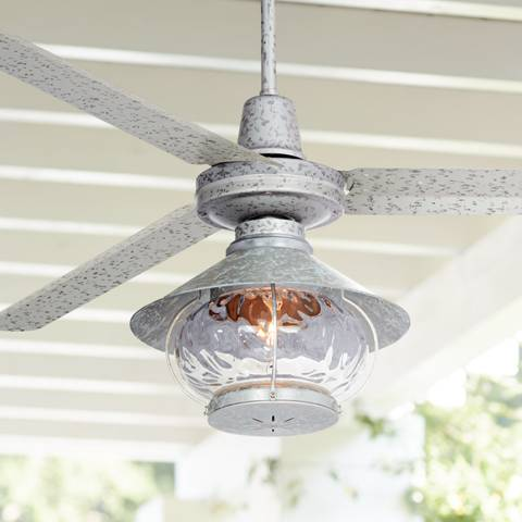 "60"" Turbina Tropical Lantern Galvanized Ceiling Fan - #7D011"