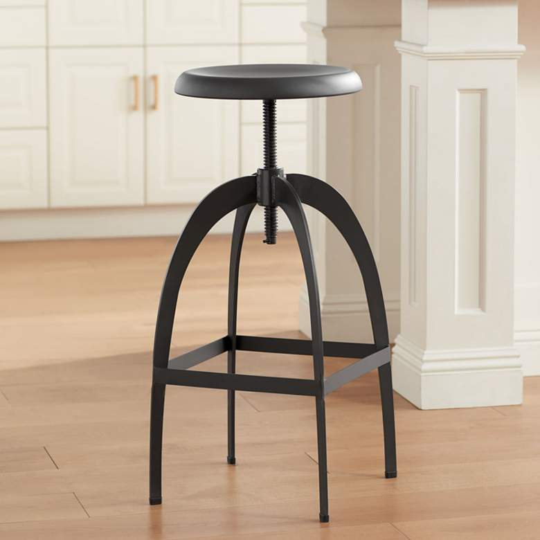 Colby Matte Gray Steel Adjustable Swivel Bar Stool