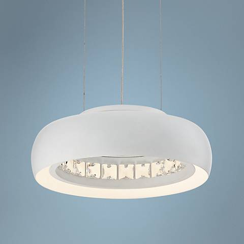 "Possini Euro Fodrie Matte White 10"" Wide LED Mini Pendant"