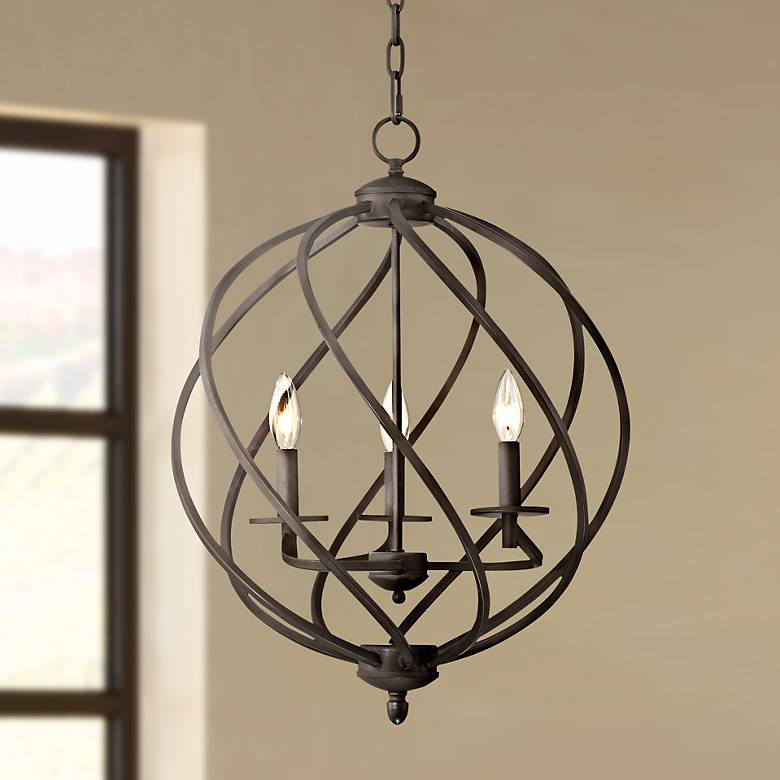"Katerina 18 1/2"" Wide Swirled Bronze Metal Foyer Chandelier"