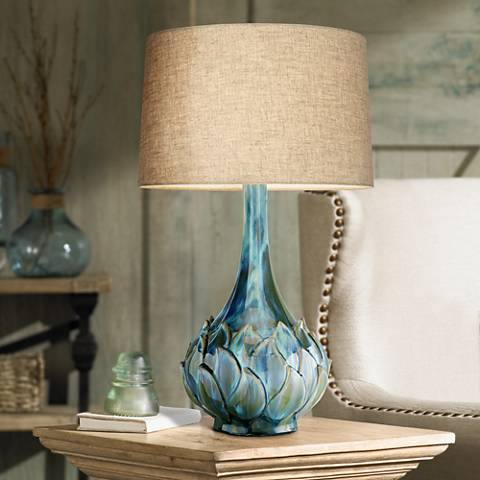 Possini Euro Kenya Blue Green Ceramic Table Lamp 7d486