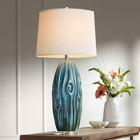 Possini Euro Eneya Blue Ceramic Table Lamp 7d694