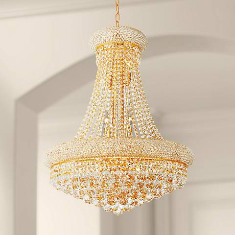 "Primo 24"" Wide Gold 14-Light Crystal Chandelier"