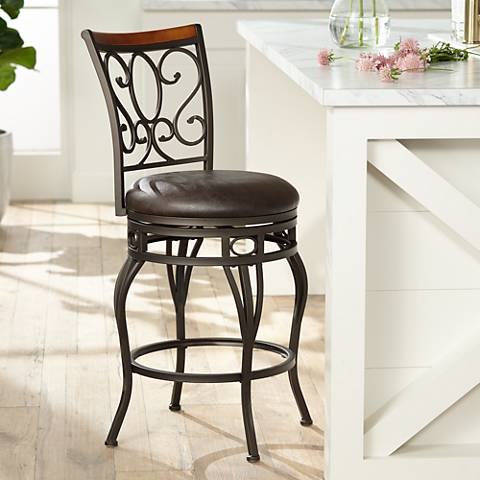 Trevi Wood And Bronze Metal 26 Swivel Counter Stool 7d901