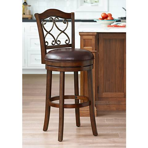 "Newton 30"" Brown Faux Leather Swivel Bar Stool"