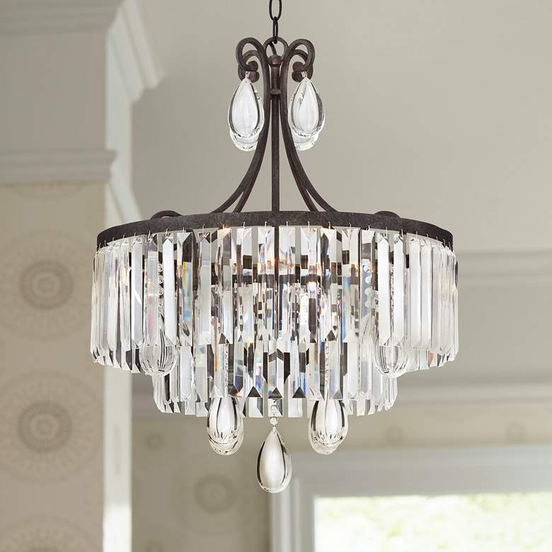 "Luba 20"" Wide Bronze Crystal 4-Light Chandelier"