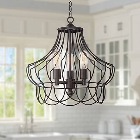 "Hansel 19 1/2"" Wide Bronze Metal Edison Swag LED Chandelier"