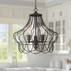 "Hansel 19 1/2"" Wide Rustic Bronze Open Cage Chandelier"