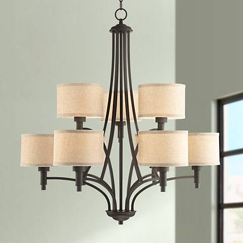 "La Pointe 31"" Wide Oil-Rubbed Bronze 9-Light Chandelier"
