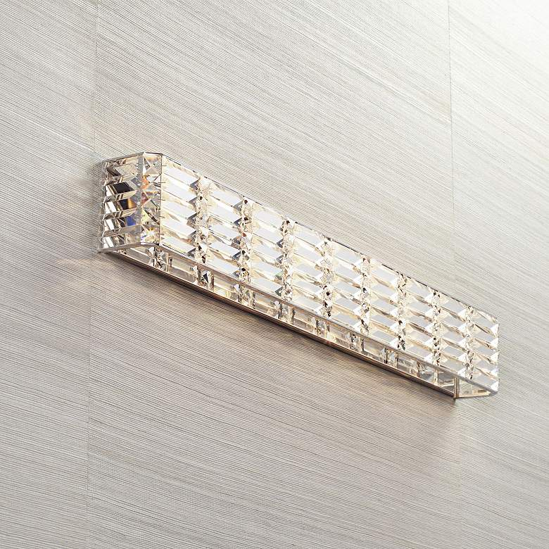 "Possini Euro Vivienne 35"" Wide Chrome and Crystal Bath Light"