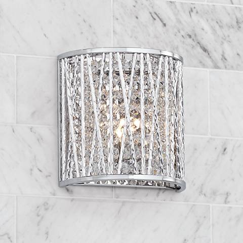 "Possini Euro Woven Laser Cut 7 1/2"" High Chrome Wall Sconce"