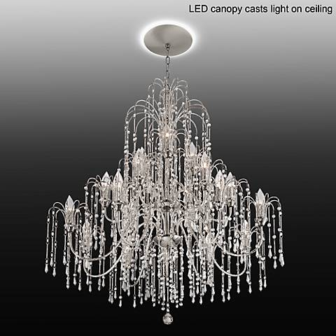 "Crystal Rain 37""W Crystal Chandelier with LED Canopy"