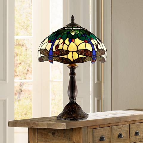 "Dragonfly Tiffany Style 18"" High Accent Table Lamp"