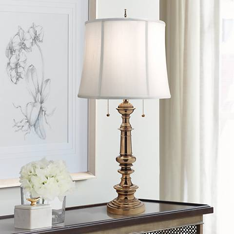 Stiffel Burnished Brass Double Pull Chain Table Lamp 7h656