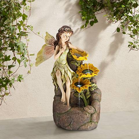 "Garden Fairy with Sunflowers 26"" High Floor Fountain"