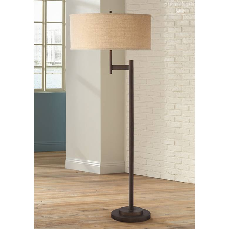 Possini Euro Parker Ii Light Blaster Floor Lamp Bronze 7j233 Lamps Plus