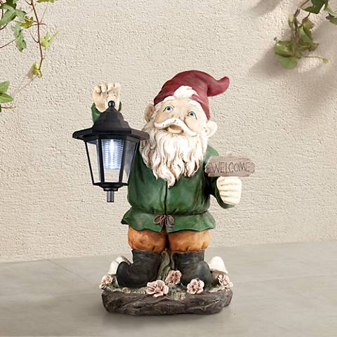 "Welcome Gnome with Lantern 16"" High Outdoor Garden Statue"