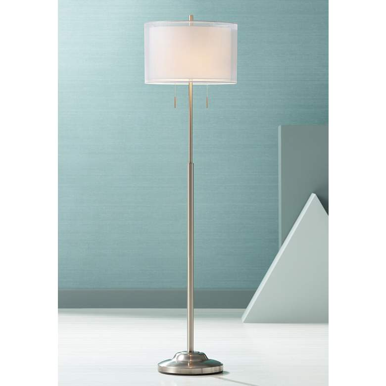 Roxie Brushed Nickel Floor Lamp with Double Shade