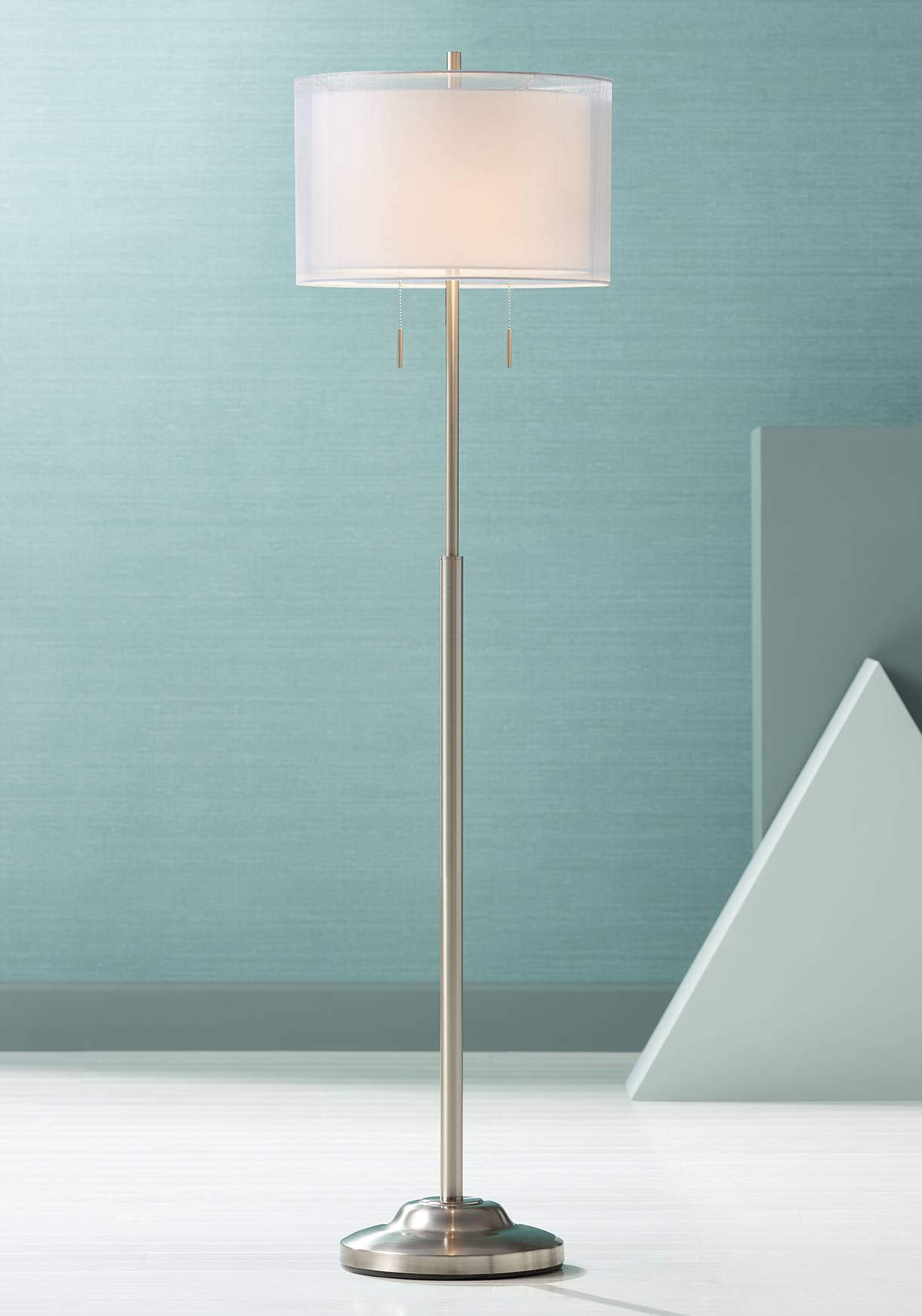 Roxie brushed steel floor lamp with double shade