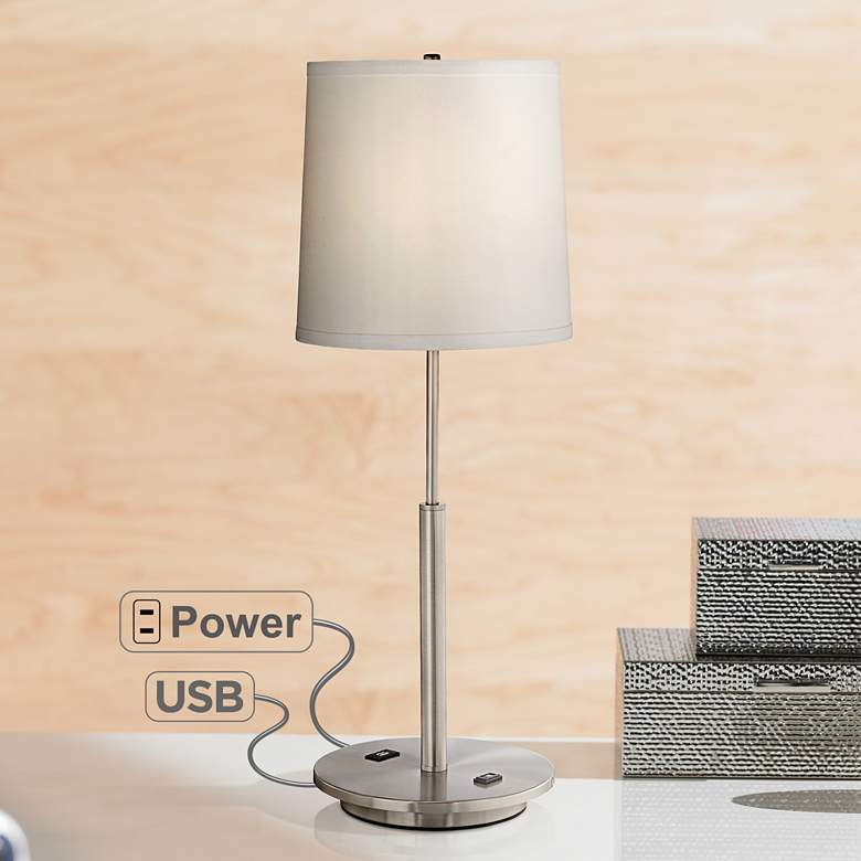Martel Metal Table Lamp With Usb Port And 2 G Outlet