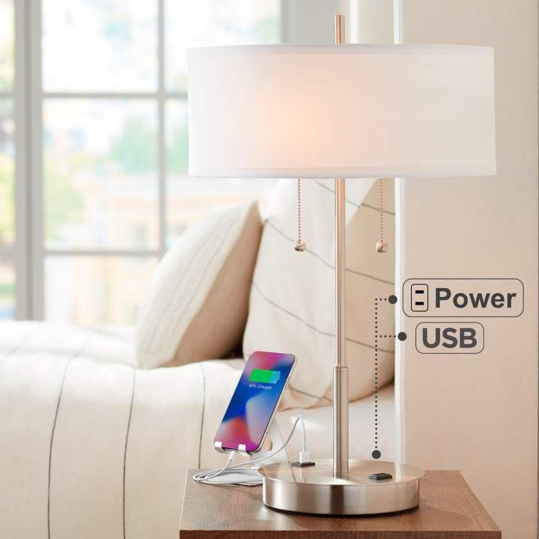 Nikola Metal Table Lamp with USB Port and Utility Plug
