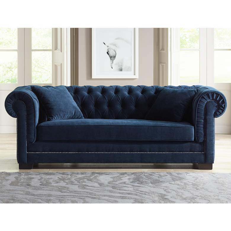 "Christine 86 1/4"" Wide Ink Blue Velvet Tufted Sofa"