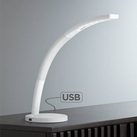 Spree White LED Desk Lamp with USB Port