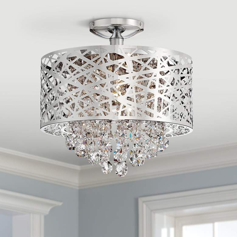 "Lite Source Benedetta 14"" Wide Cut Crystal Ceiling"