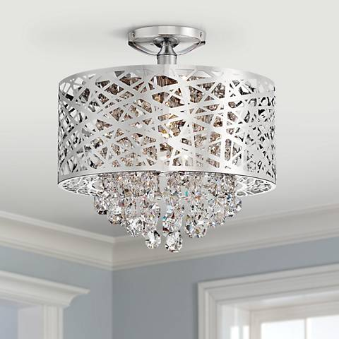 "Lite Source Benedetta 14"" Wide Cut Crystal Ceiling Light"