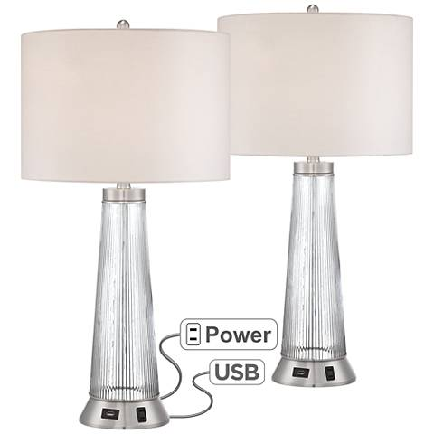 Hamish Metal and Glass Table Lamp with USB Port Set of 2
