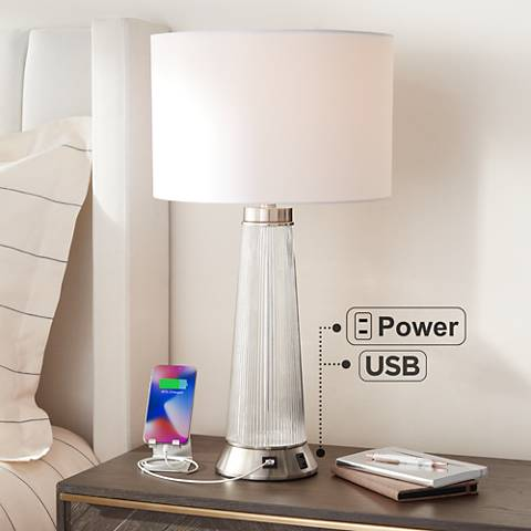 Hamish Metal And Glass Usb Table Lamp With Outlet 7k232 Lamps Plus