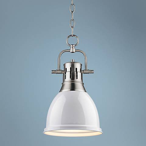 "Duncan Pewter 9"" Wide Contemporary White Mini Pendant"