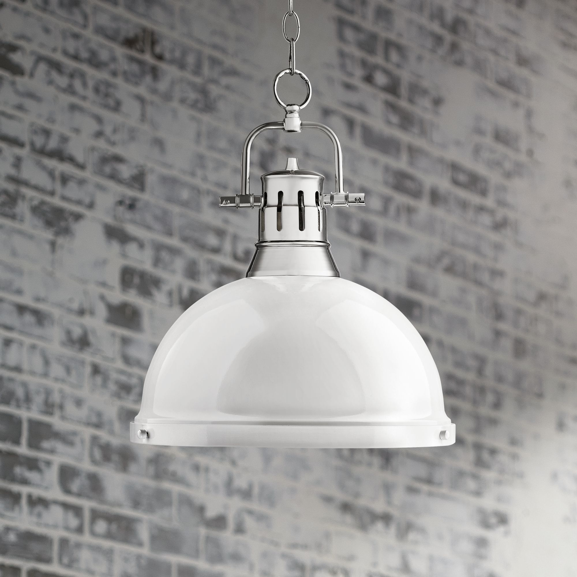 Duncan Chrome 14 Wide Contemporary White Pendant Light 7K316