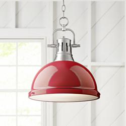 "Duncan Pewter 14"" Wide Contemporary Red Pendant Light"