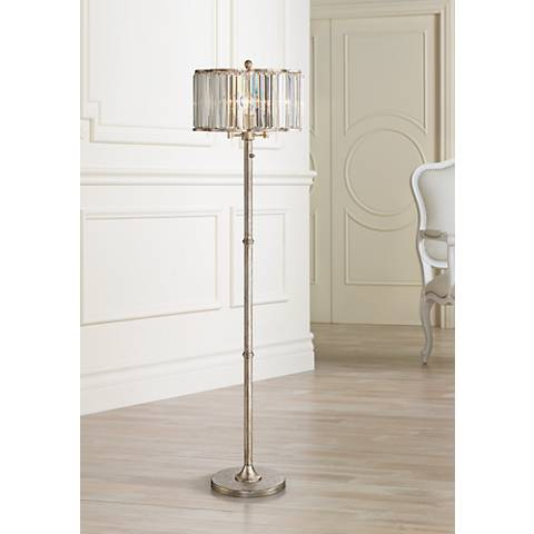 Soft Silver 3-Light Crystal Glass Floor Lamp
