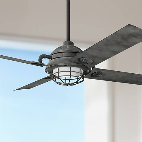 "65"" Kichler Maor LED Weathered Zinc Ceiling Fan"